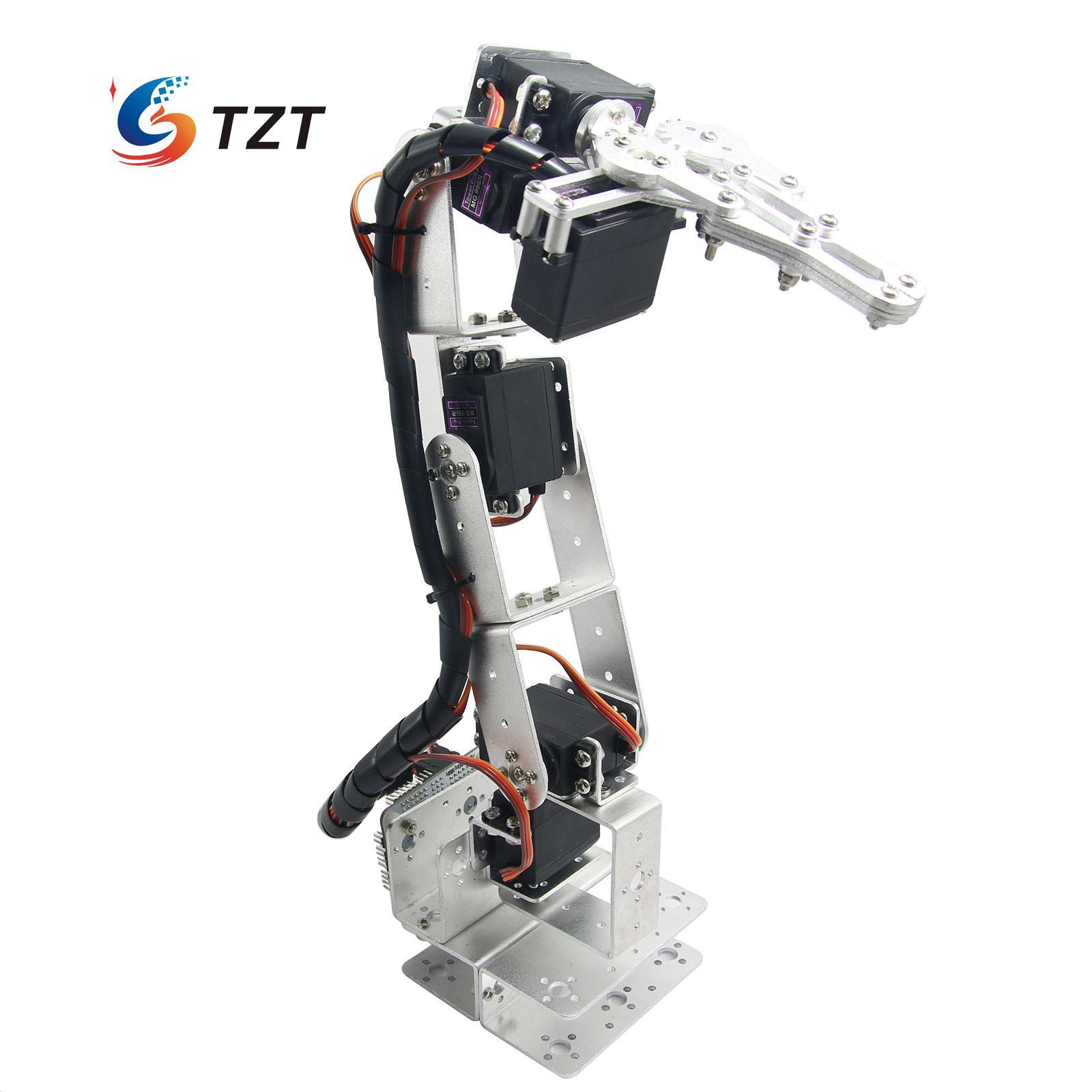 купить 6DOF Robot Arm Aluminium Clamp Claw Mount Kit Mechanical Robotic Arm & 6pcs Servos & Metal Servo Horn Silver недорого