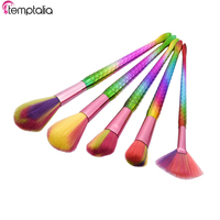Colorful Mermaid Makeup Brushes Kits 5pcs Foundation Powder Blusher Synthetic Hair Cosmetic Beauty Tool Make Up