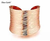 Cao Đánh Bóng Thép Không Thép Rộng Mở Tay Cuff Vòng Đeo Vòng Đeo Tay Cho Womens Jewelry Bohemia Tộc Vintage Vàng/Rose Gold