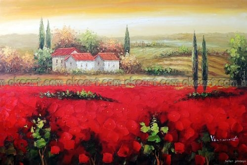 100 hand painted french country home red poppy flower landscape 100 hand painted french country home red poppy flower landscape farm decoration oil painting free mightylinksfo