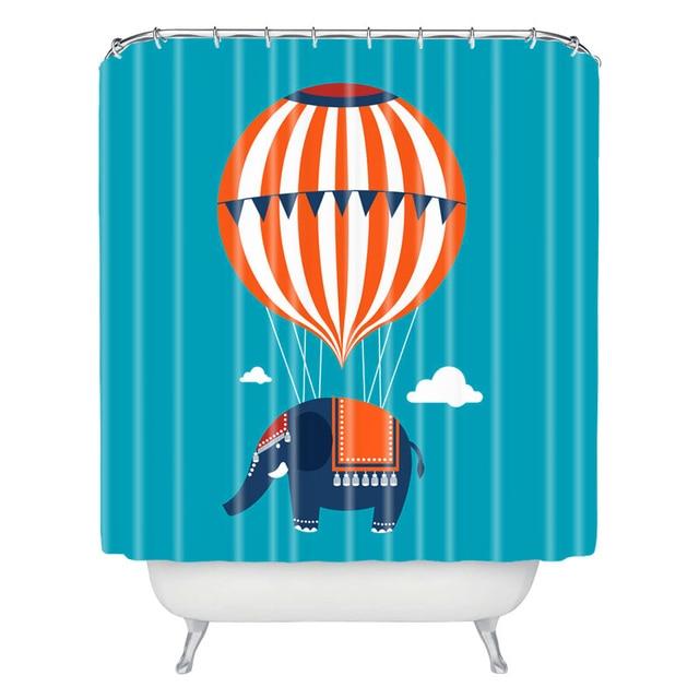 benutzerdefinierte cartoon elefant und ballon polyester wasserdicht duschvorhang stoff bad duschvorhang 180 cm dusche vorhang - Stoff Vorhang Dusche