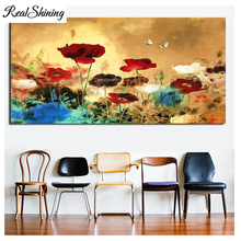 Blooming Poppies Large Colorful Flowers 5d diy Diamond Painting Full Square/Round drill Embroidery wedding gift FS4363