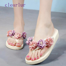 Summer fashion non-slip flip flops hot flowers sweet wedges beach shoes slippers sandals C0179