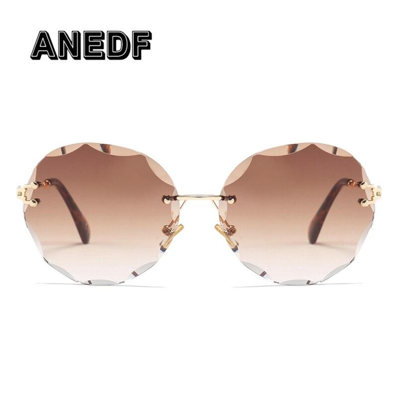 27a7b52a5d447 ANEDF 2018 Luxury Transparent Gradient Rimless Sunglasses Women Brand  Designer Sun Glasses Retro Gradient Shades UV400 Eyewear