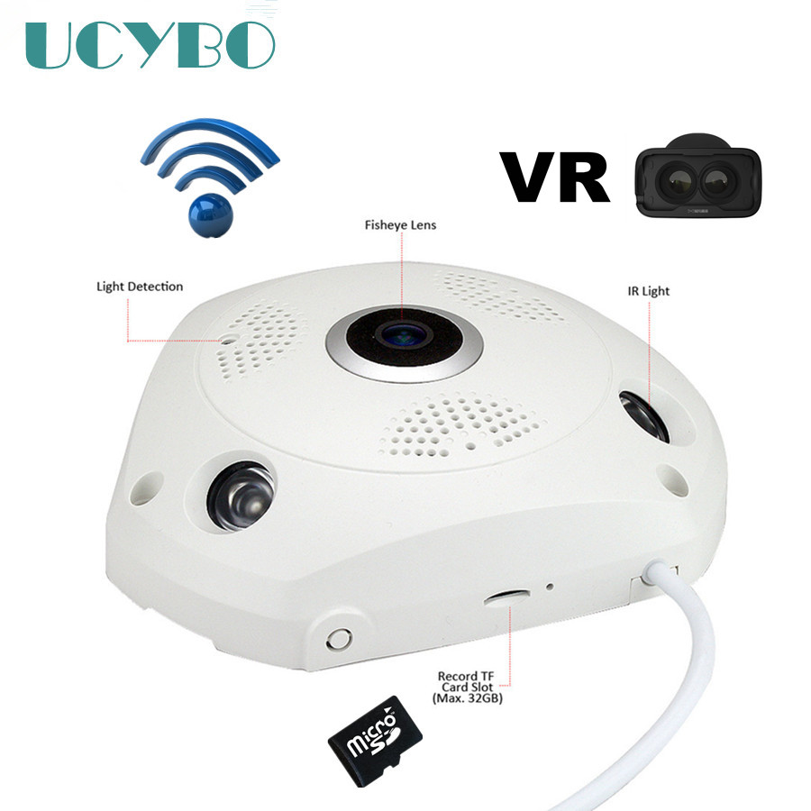Wireless 3mp fisheye ip camera VR Panoramic cctv security network mini fish eye SD TF Card 128GB 360 Degree onvif camera erasmart hd 960p p2p network wireless 360 panoramic fisheye digital zoom camera white