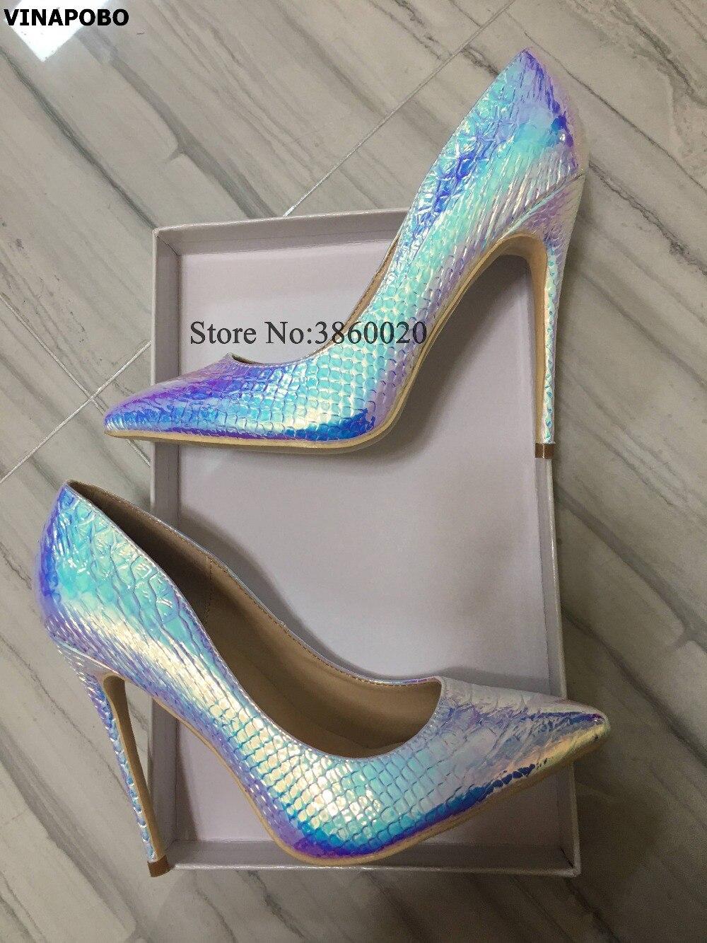c2fdbb34720e 2019 Sexy Motif Marque Dames 12cm 8cm Chaussures Femmes Serpent Pointu Bout  Talons Pompes Luxe Haute ...