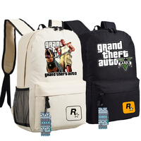 High Quality 2017 New Game Grand Theft Auto GTA5 Unisex Printing Canvas Fashion Backpack School Bags for Teenagers
