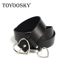 2018 New Arrival Brand Belts for Women Black Belt Female Fashion Dresses Gold and Silver Love Shape TOYOOSKY