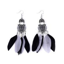Retro Long Feather Tassel Earrings