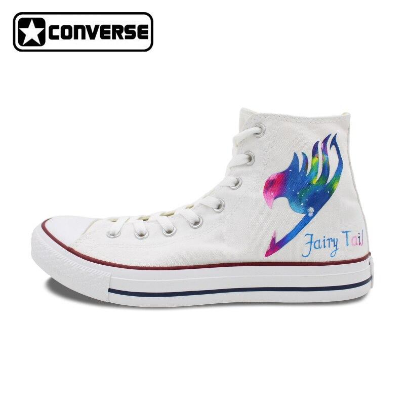 Prix pour All Star Converse Hommes Femmes Chaussures Galaxy Fairy Tail Natsu Design Peint À La Main Chaussures Blanc Sneakers Homme Femme Cadeaux De Noël