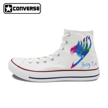 All Star Converse Men Women Shoes Galaxy Fairy Tail Natsu Design Hand Painted Shoes White Sneakers Man Woman Christmas Gifts
