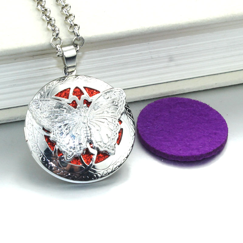 1pc 70cm Vintage Aromatherapy Perfume Essential Oils Aroma Diffuser Necklace Locket Necklace butterfly Pendant Necklace