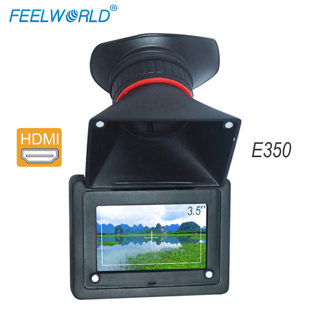 где купить Feelworld E350 HDMI Electronic Viewfinder 3.5'' HD 800x480 LCD Screen 2X Magnification EVF Field Camera Monitor LCD View Finder дешево