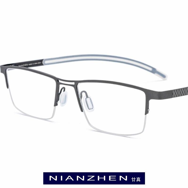 Pure Titanium Eyeglasses Frame Men Square Myopia Optical Frames Eye Glasses for Men Ultra Light Half