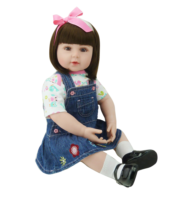 Adorable Soft Cloth Body Silicone Reborn Toddler Princess Girl Baby Alive Doll Toys with Strap Denim Skirts Pink Headband Dolls adorable soft cloth body silicone reborn toddler princess girl baby alive doll toys with strap denim skirts pink headband dolls