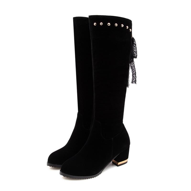 Asumer Haute Zip Genou Épais 2018 Chaussures Rond Bottes Noir Hiver Femmes Flock Automne Talons Rivet Bout Nouvelles Femme OZiXuTPk