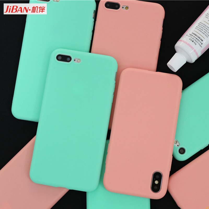 new style e499e 75776 US $0.5 75% OFF|JIBAN Peach Pink Cute Candy Color Phone Case for Apple  iphone 6 for iPhone X 7plus 8 6s Pure Soft Silicone Couples Back Cover-in  ...