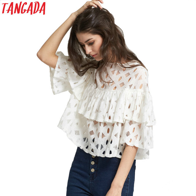 Tangada Fashion New Women Elegant White Lace Hollow Out Short Blouse Casual Ruffle Circle Shirts O-neck Sleeve Brand Tops DT39-H