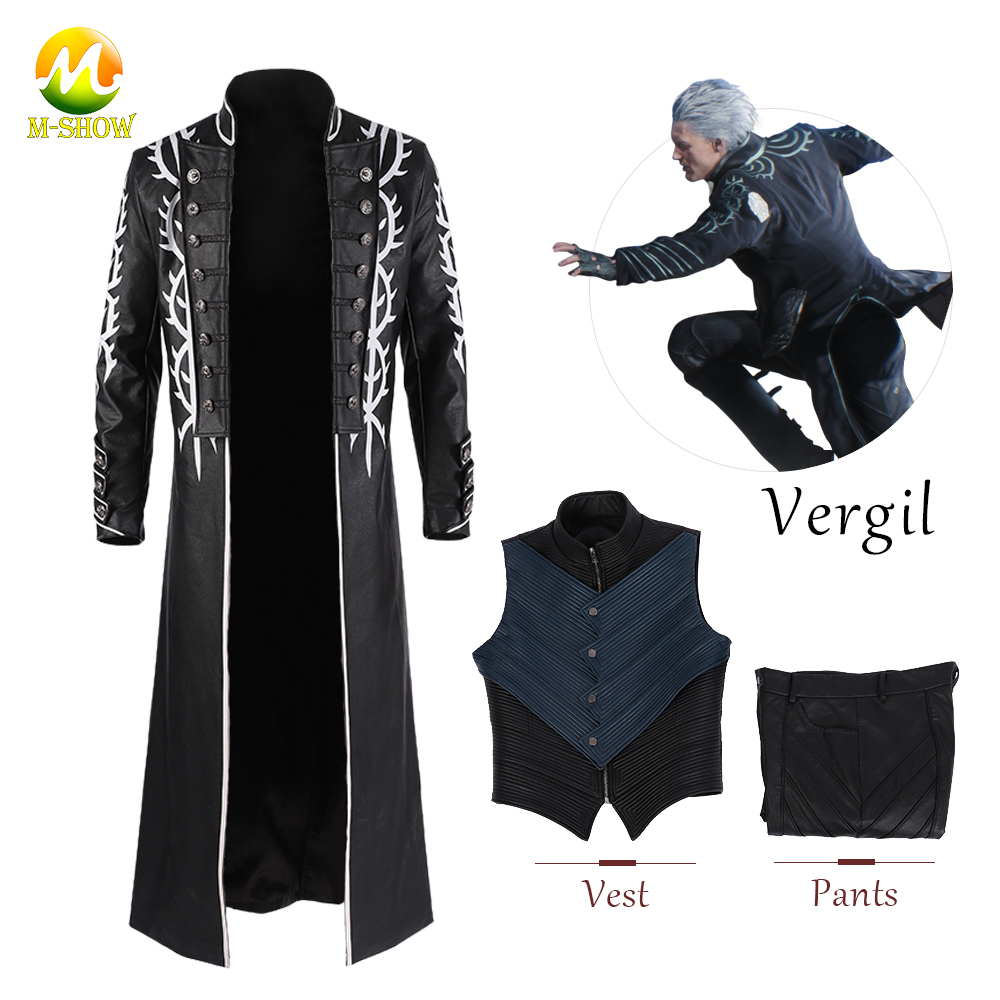 DMC 5 Vergil Cosplay Costume Vergil Faux Leather Vergil Coat Pants Vest Halloween Carnival Cosplay Jacket For Men