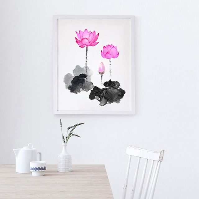 Pink lotus flowers wall art print and poster lotus wall pictures