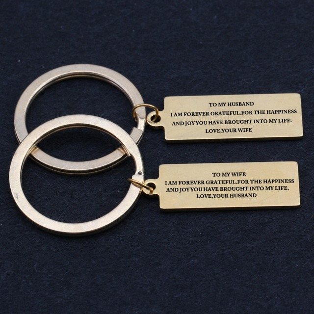 2PCS Couples Keychain Lovers Keyring To My Wife To My Husband Leeter Keyfob  Gift for her  him Bagchain f21f52167