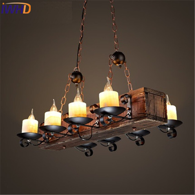 Candle Light Fixture: IWHD American Wood Candle Vintage Droplight Marble