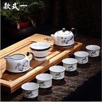 Manufacturers selling new specials snowflakes glaze ceramic tea set kung fu tea set 8 head pot custom logo
