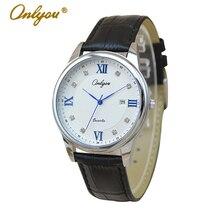 Onlyou Marca 2016 Cuero Genuino Relojes Para Hombres de Las Mujeres Reloj de Cuarzo Resistente Al Agua Reloj de Moda Relogio masculino Feminino 81017