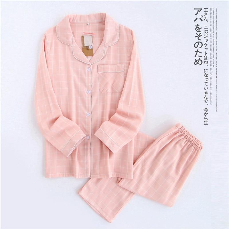 home suit Cotton Plaid Couple   Pajama     Sets   Pink Women Sleepwear Autumn Spring Women   Pajamas   Female Suit Long Sleeve Pyjamas Women
