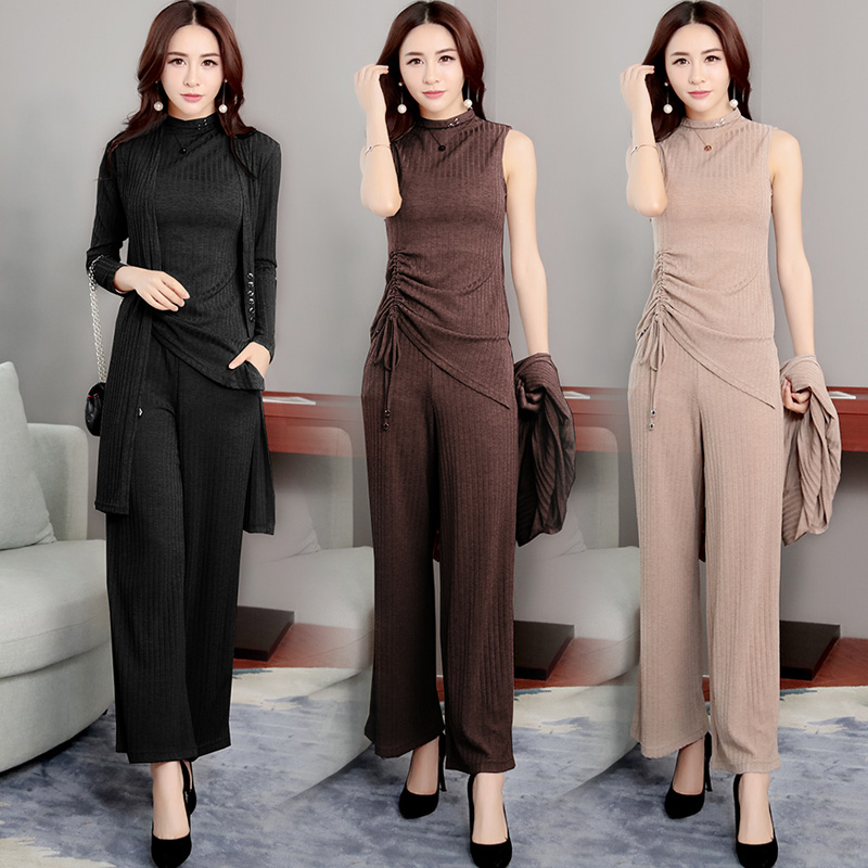 Summer Kintted Women's Suit Set 3 Piece Lounge Wear Set Long Coat And Vest Tops And Wide Leg Pants Women Plus Size Tracksuits