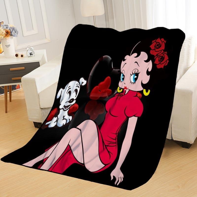 Cobertor em Casa Cobertura de Viagem Nova Chegada Betty Boop Cobertores Impressão Macio Nap – Sofá Escritório Portátil Cobertor
