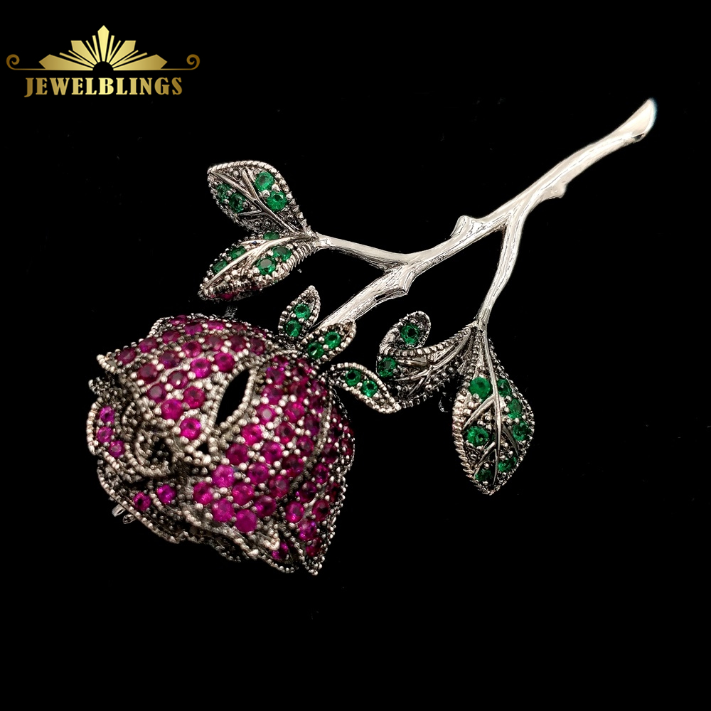 Exquisite Vintage Micro Pave CZ Red Rose Brooches Silver Tone Long Stem Green Leaves Ornate Rose Flower Pins for Beauty Jewelry цена 2017