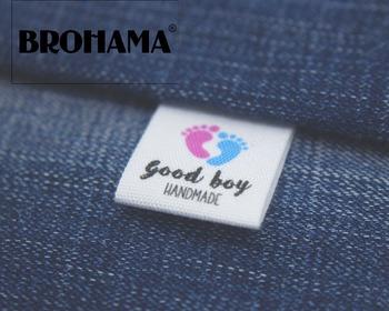 Niestandardowy składany etykiety niestandardowe marki etykiety etykiety odzieżowe etykiety z dziecko ślad (MD005) tanie i dobre opinie Buty Odzieży Torby Pielęgnacja lables PRINTED Tkaniny BROHAMA Zmywalna Ekologiczne customize