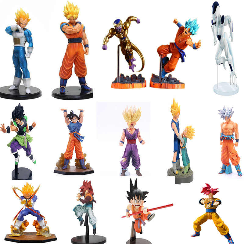 Figuras de Ação De Dragon Ball Z Super Saiyan Goku Gohan Vegeta Anime Dragonball Broly Trunks Estatueta Modelo Toy Coleção