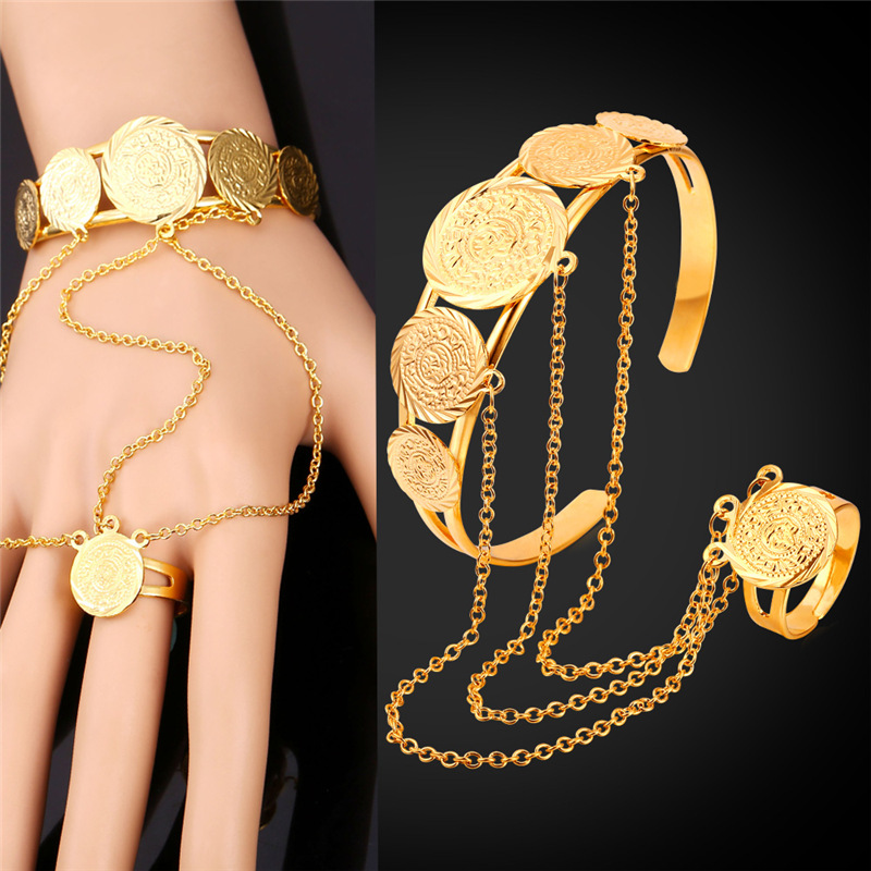 Coin Hand Chain Ring Bracelet Set For Men/Women Muslim Arab Money Sign Bracelet Ring Gold Color Vintage Jewelry Set HR1550