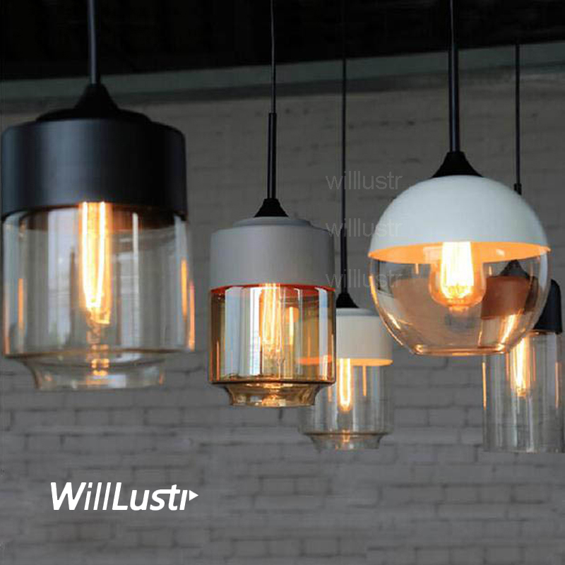 modern pendant lamp amber clear gray white black glass shade suspension lighting dinning living room bedroom hotel cafe light купить