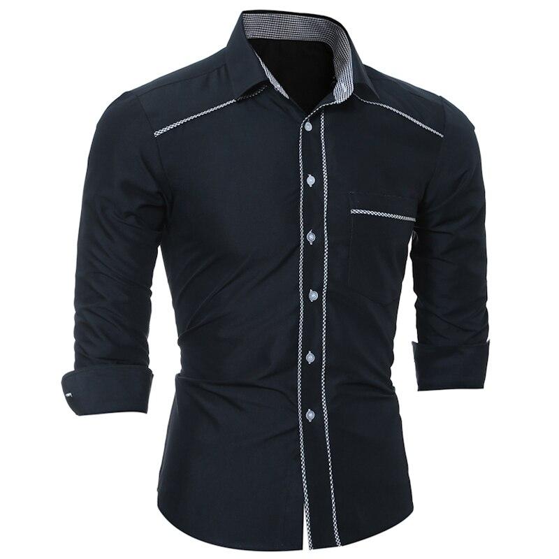 Brand 2017 Fashion Male Shirt Long-Sleeves Tops Classic Personality Package Edge Solid Mens Dress Shirts Slim Men Shirt 3XL