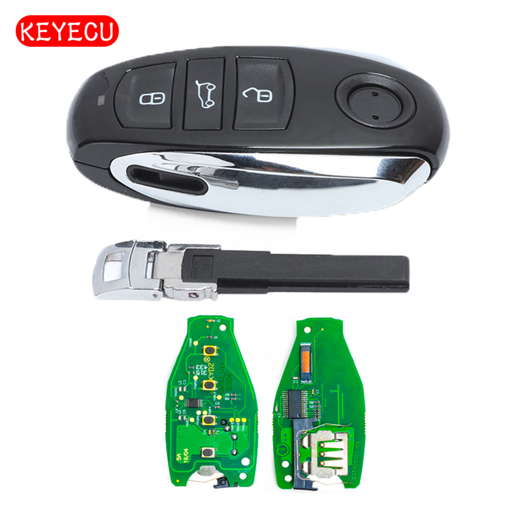 Keyecu Smart Remote Key 3 Button for Volkswagen Touareg 2011-2014 With Small key 433MHz PCF7953 Chip new smart remote car key fob 3 button 315mhz 7953 chip for volkswagen touareg