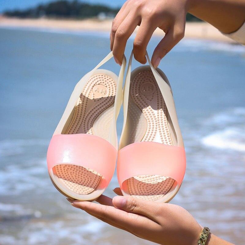 MWY Jelly Shoes Women Sandals Summer Women Shoes Rainbow Colors Flat Shoes Woman Beach Sandals Fashion Ladies sandalen dames
