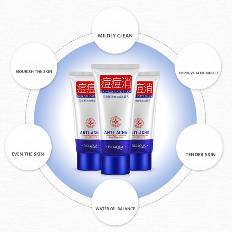 Acne Treatment Facial Cleanser Black Head Remove Oil-control Deep Cleansing Shrink Pores Foam Face Cleaning Cream H7JP