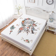 Bohemia Dream Catcher Bed Sheet Colorful Feather Print Fitted Twin Full King Queen Bedding Deep Pocket Bedclothes