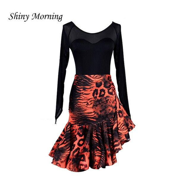 76eb007399d3 latin dress dance orange leopard latin skirt latin dresses ballroom latin  dress for girl kids