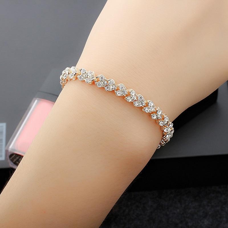 Linnor Exquisite Luxury Roman Crystal Bracelet for Women Full Inlay Zircon Charm Bangle Braslet Pulseras Feminina Jewelry