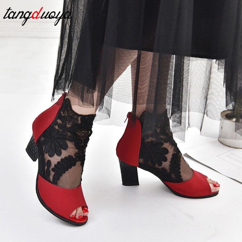 Peep Dentelle Chaussures Red Haute Sexy Hauts Fleur Pompes Toe Talons Femmes À black Femme Donna Carrés Scarpe AvUxnEBqw