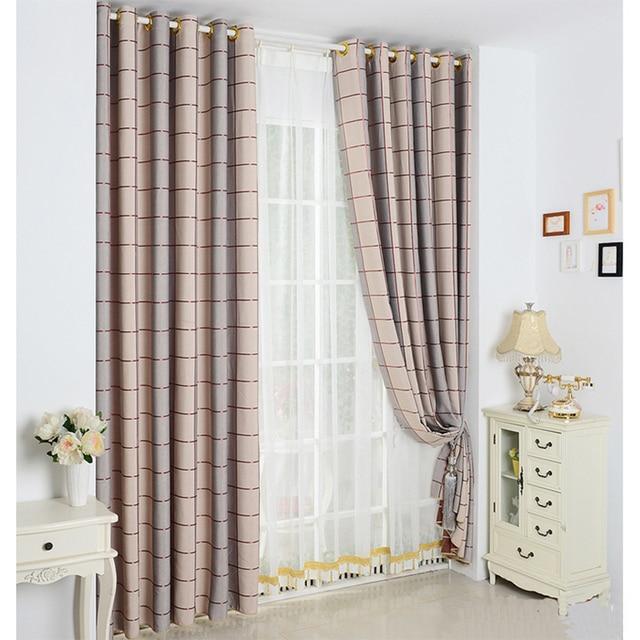 Simple Printed Plaid Window Curtain Living Room Blackou Curtains 3 Color Bedroom Kitchen Decoration Luxury