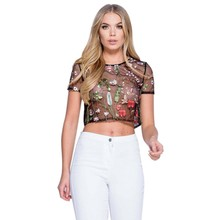 Fashion Summer Women Embroidery Flower See Through T Shirt Sexy Black Mesh Women Black Tops Wear For Beach Pub
