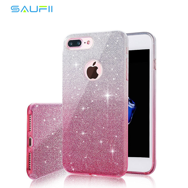 best cheap 55ad0 cedcd US $4.78 |Phone Cases for iPhone 7 7Plus Silicon Case Luxury Glitter  Sparkle Bling Designer Back Cover Cases Capa Coque Funda-in Half-wrapped  Case ...