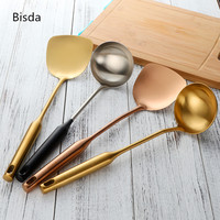 2 pcs Stainless Steel Turner And Soup Ladle Gold Ladle Spoon Cooking Tool Set Long Handle Big Kitchen Utensil Black Wall Hang