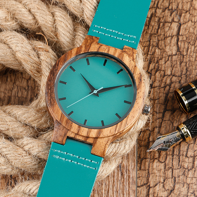 Mode Creative bois montres hommes Nature bambou fait à la main Montre-bracelet bleu Quartz Montre homme sport robe montres Montre en bois 4