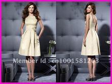 Beige High Neck Sleeveless Short Satin Bridesmaid Dresses Dress With Pockets B130